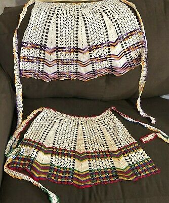 Vintage Hand Crocheted Colorful Kitchen Apron set of 2