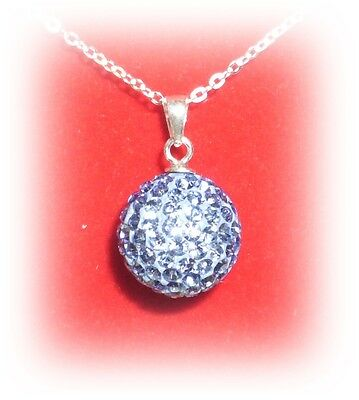 Swarovski Elements Kugel-Set blau, ca 45 cm Ankerkette, echt Sterling Silber 925