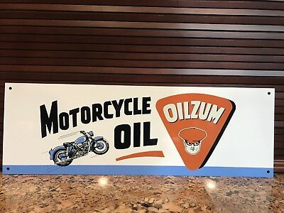 Oilzum Motorcycle Oil  vintage style gasoline racing Gas Metal sign