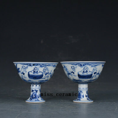 Ming chenghua China antique Porcelain Blue & white painting babies cup A PAIR