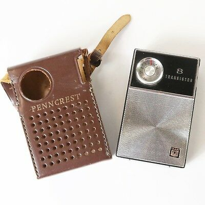 Vintage Penncrest 1151 Toshiba Transistor Radio - Works Well - Case Included