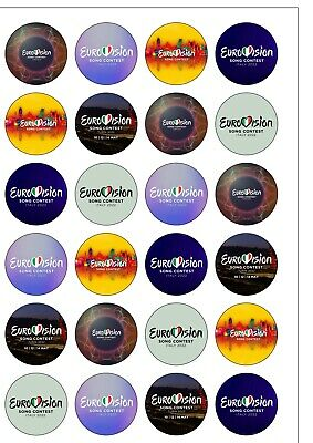 24 PRECUT Eurovision Song Contest 2019 Israel Edible Wafer Paper Cake Toppers