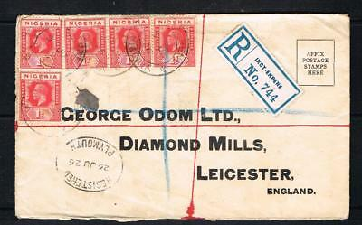 nigeria GV 1d X 5 on 1926 registered [IKOT-EKPENE] cover to leicester