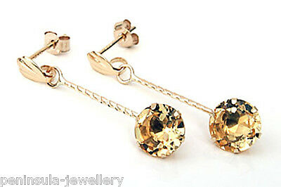 9ct Gold Citrine drop Earrings Gift Boxed Made in UK Birthday Valentines Gift