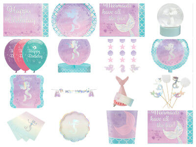 Mermaid Shine Birthday Party Cups Plates Napkins Invites Loot Bags Foil Balloons