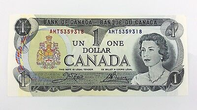 1973 Canada 1 One Dollar AMT Prefix Canadian Uncirculated Currency Banknote I438