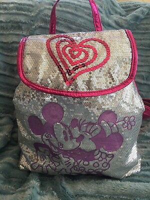 Sequined Mickey & Minnie Mouse Backpack Silver/pink