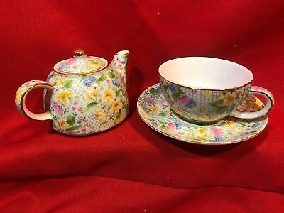 Chintz DANA Tea Cup & Saucer with Personal TEAPOT by Two's Company