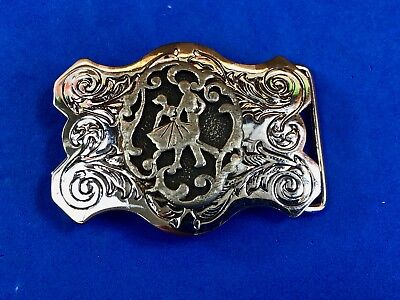 Vintage Western Swirl dancing couple, line square country belt buckle