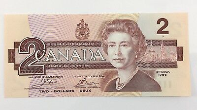 1986 Canada 2 Two Dollar ARK Prefix Canadian Uncirculated Currency Banknote I445