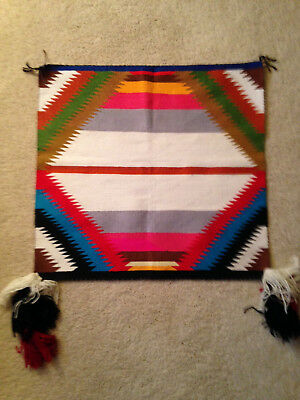 "Navajo Sunday Saddle Blanket Native American Rug 32 1/2"" X 31"""