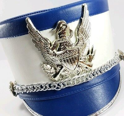 49cfb1f378a Shako Master Blue White Marching Band Hat Vintage Leather Shako-Master XL  Hat