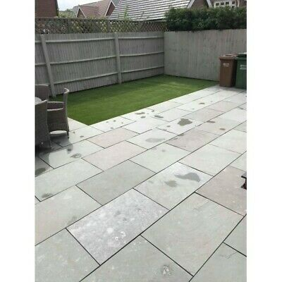 Dove Grey Limestone Indian paving slabs flags pvers 900x600 Sawn Edge