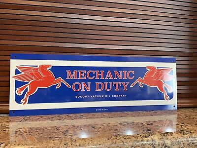 Mobil oil Mobiloil pegasus MECHANIC ON DUTY gas Gasoline advertising sign
