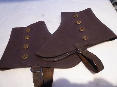 Pair Of Vintage Quality  Size 8 Mid Brown Felt Spats 4 Buttons