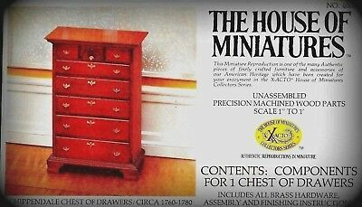 Rare Dollhouse House Of Miniatures Chippendale Chest Kit, Antique Replica