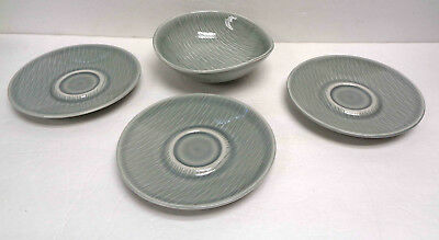 """Three Raymor Contempora by Steubenville 6"""" Mist Gray Coffee Saucers & 6"""" Bowl!"""