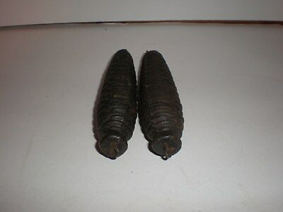 2 VINTAGE CUCKOO CLOCK PINE CONE CAST IRON WEIGHTS 15 ozs EACH MATCHING PAIR.