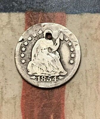 1854-O 5C Seated Liberty Half Dime 90% Silver Vintage US Coin #XL62