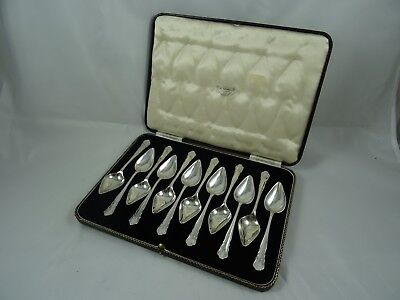 BOXED set x 12 solid silver GRAPEFRUIT SPOONS, 1936, 288gm