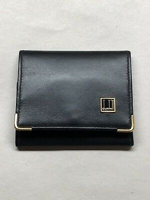 (90's VINTAGE) Dunhill Black Leather Coin Wallet Case - Authentic