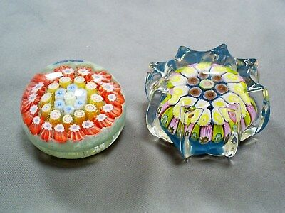Vintage Miniature Scottish/strathearn & Perthshire Millefiori Glass Paperweights