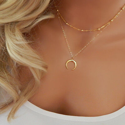 Fashion Crescent Moon Horn Boho Double Layer Choker Pendant Necklace Chain UK