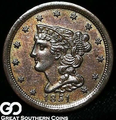 1851 Half Cent, Braided Hair, Sharply Struck BU++ Early Copper