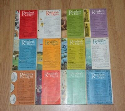 Vintage UK Readers Digest Magazines x12. January to December 1968