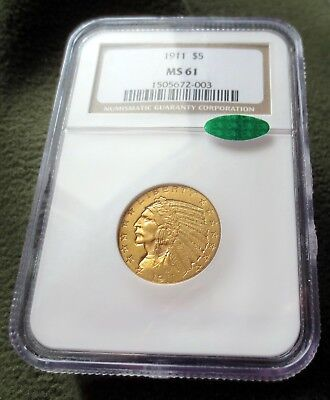 1911 $5 Gold Indian NGC MS 61 CAC Bright NO Spots Free Shipping!