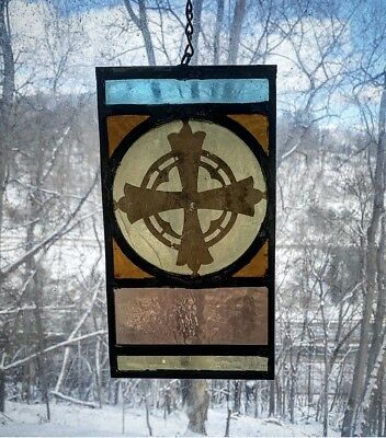Early 1900s Architectural Salvage Leaded Stained Glass- Painted Cross, Gold