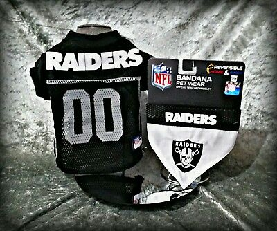 ea7d92cc5 S Nfl Oakland Raiders Cat Dog Pet Jersey   Bandana 2 Pc Set Officially  Licensed