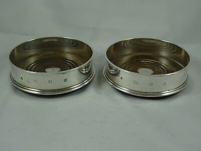 FINE pair , solid silver WINE BOTTLE COASTERS, 1988
