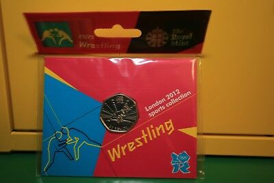 Wrestling 2012 London Olympic Games 50p Sports Collection Uncirculated Coin.