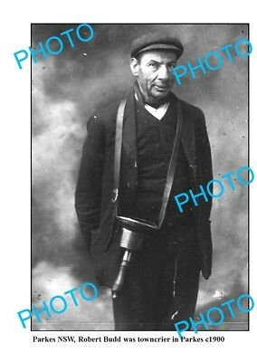 OLD LARGE PHOTO, PARKES NSW, TOWNCRIER ROBERT BUDD c1900