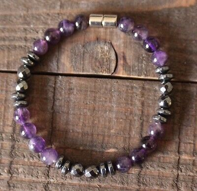 Amethyst-Hematite Chakra Zen Healing Gemstone Bracelet With A Magnetic Clasp