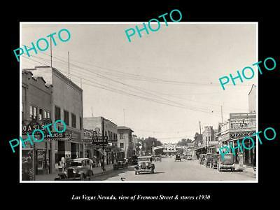 OLD LARGE HISTORIC PHOTO OF LAS VEGAS NEVADA, VIEW OF FREMONT ST & STORES c1930