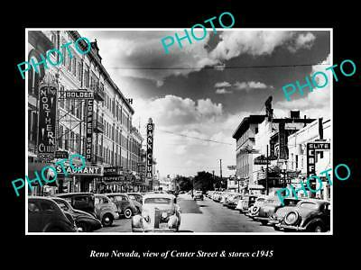 OLD LARGE HISTORIC PHOTO OF RENO NEVADA, VIEW OF CENTER ST & STORES c1945