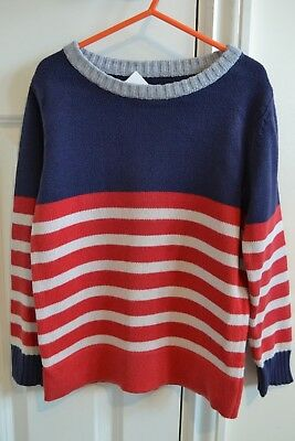 Lovely Mini Boden Boys Casual Red/White/Blue Striped Cotton Jumper 5-6Y EUC