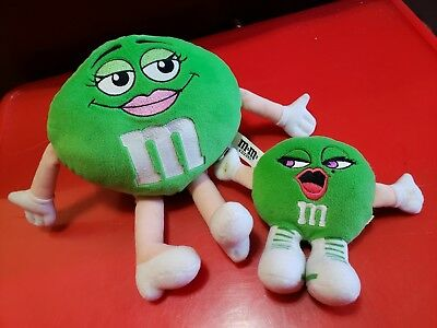 M&M Plush Green PAIR Big + Small Stuffed Toy M&Ms World MMS Toys 9 inch + 5 inch