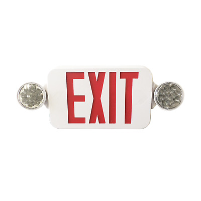 EmergiLite Double Face LED White Exit Sign - Red Letters Round Head 25023