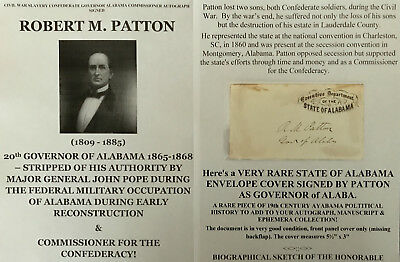 Civil War Slavery Confederate Governor Alabama Ousted By Union Autograph Signed