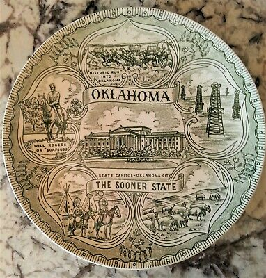 Vintage 1960s Oklahoma Souvenir Collectible Plate Sooner State Green Will Rogers