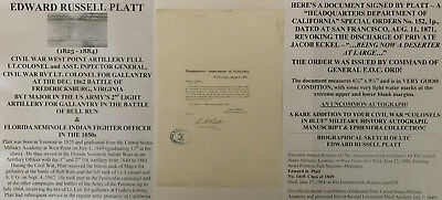 Fl Seminole Indian/civil War West Point Artillery Colonel Order Document Signed