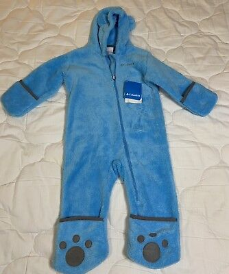 0b6b6541 Columbia Blue Grey Hooded Footed Mittens Fleece Sherpa Snowsuit 18-24 Months