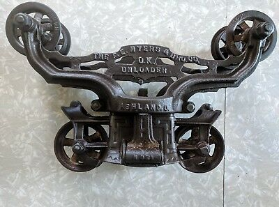Vintage Cast Iron F.E. Myers & Bro. Co. OK Unloader Hay Barn Trolley Pulley