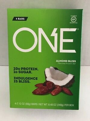 ONE Protein Bar Almond Bliss  20g Protein, 1g Sugar - 4 pack - 2.12 oz bars -NIB