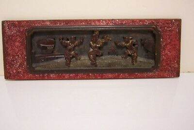 Chinese carved Vintage high relief wood panel Architectural VG+
