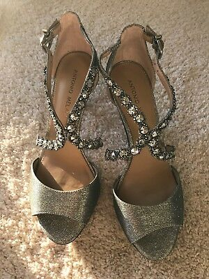 fad1f9cd9f6be ANTONIO MELANI SILVER Jeweled High Heel Strappy Dressy Sandal Sexy ...
