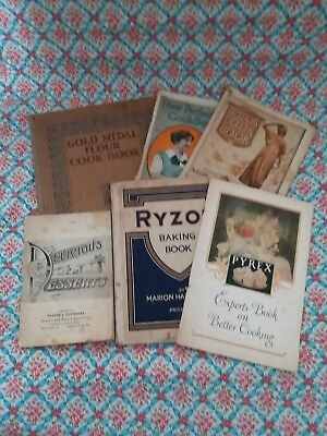 Vintage Lot Of 6 1920's Cookbooks Pyrex Gold Medal Advertising